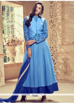 Picturesque Blue Embroidered Work Faux Georgette Anarkali Suit