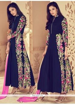 Attractive Navy Blue Anarkali Suit