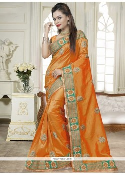 Savory Patch Border Work Mustard Traditional Saree