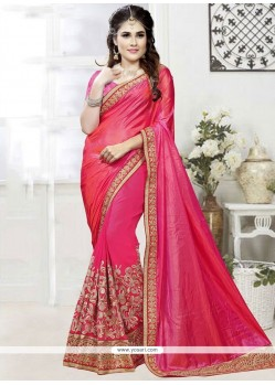 Exceeding Patch Border Work Hot Pink Designer Traditional Saree
