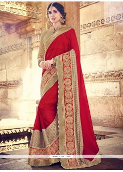 Exotic Maroon Patch Border Work Faux Georgette Classic Designer Saree
