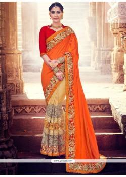 Congenial Art Silk Beige And Orange Designer Half N Half Saree
