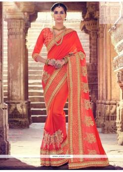 Noble Orange Patch Border Work Art Silk Designer Traditional Saree