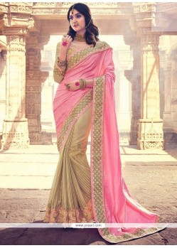 Invaluable Beige And Pink Embroidered Work Jacquard Half N Half Designer Saree