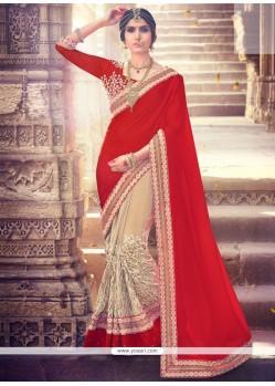 Groovy Fancy Fabric Half N Half Designer Saree