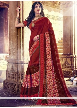 Gleaming Jacquard Maroon Embroidered Work Classic Designer Saree