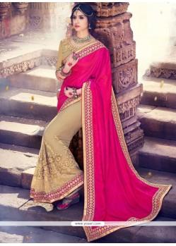 Attractive Embroidered Work Beige And Hot Pink Fancy Fabric Half N Half Designer Saree