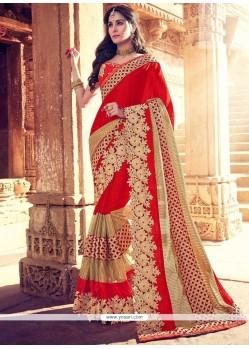 Ravishing Red Faux Georgette Designer Saree