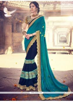 Invigorating Navy Blue Designer Half N Half Saree