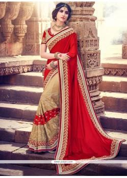 Sparkling Beige And Red Embroidered Work Half N Half Saree