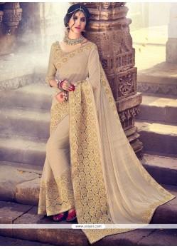 Fashionable Beige Fancy Fabric Classic Designer Saree
