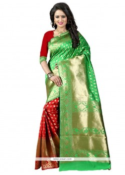 Modern Green And Red Traditional Designer Saree