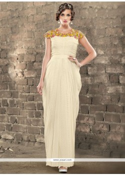 Fancy Fabric Off White Resham Work Readymade Gown