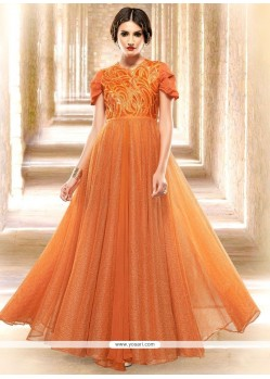 Peppy Orange Embroidered Work Readymade Gown
