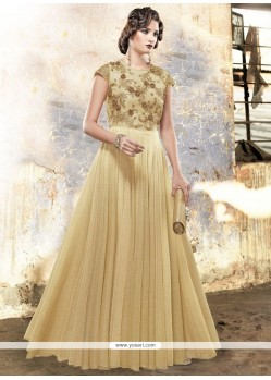 Flamboyant Fancy Fabric Resham Work Readymade Gown