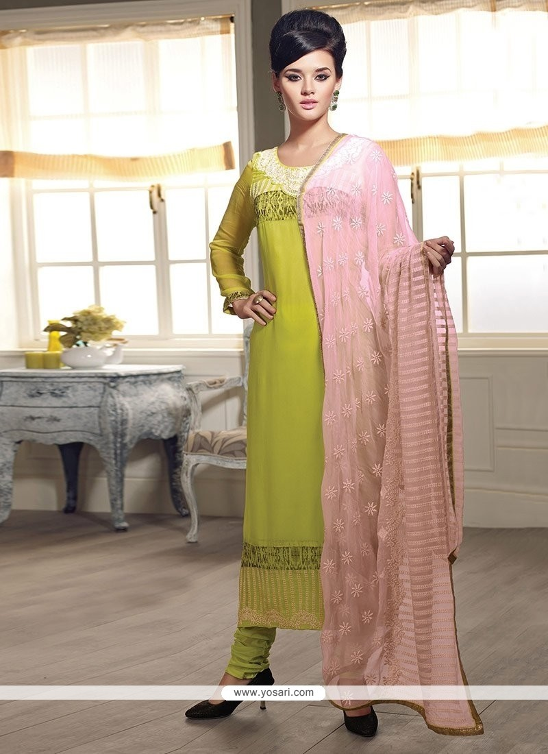 Amazing Green Georgette Churidar Salwar Suit