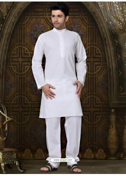 Pure Cotton Kurta Payjama In White Color