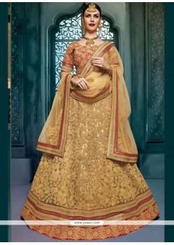 Delectable Art Silk Beige Lace Work Lehenga Choli