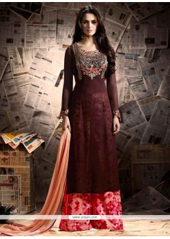 Diamond Faux Georgette Designer Palazzo Suit In Brown