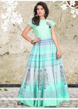 Banglori Silk Blue Digital Print Work Readymade Designer Gown