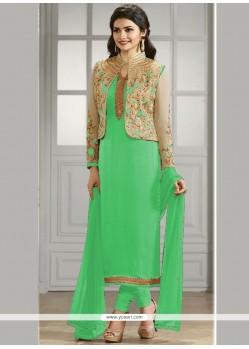 Prachi Desai Green Lace Work Jacket Style Suit