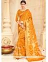 Cute Mustard Weaving Work Designer Traditional Saree