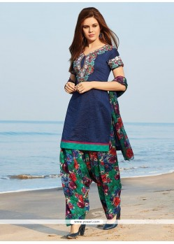 Flamboyant Print Work Readymade Suit