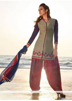 Superb Grey Chanderi Readymade Suit