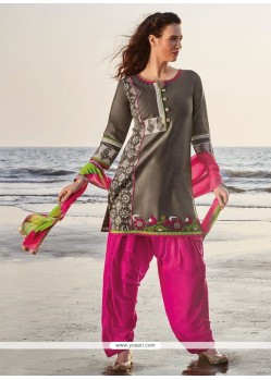 Embroidered Chanderi Readymade Suit In Grey And Pink