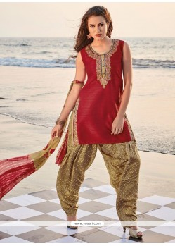 Brilliant Raw Silk Embroidered Work Readymade Suit