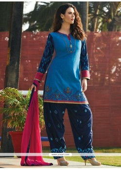 Best Chanderi Navy Blue Readymade Suit