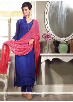Blue Georgette Printed Churidar Suit