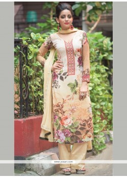 Delectable Cream Digital Print Work Faux Georgette Designer Straight Suit