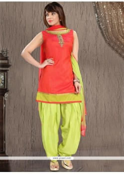 Sunshine Green And Red Readymade Suit