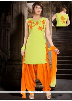 Appealing Orange And Yellow Readymade Suit