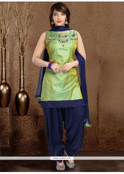 Gilded Green And Navy Blue Embroidered Work Readymade Suit