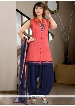 Angelic Art Silk Navy Blue And Peach Embroidered Work Readymade Suit