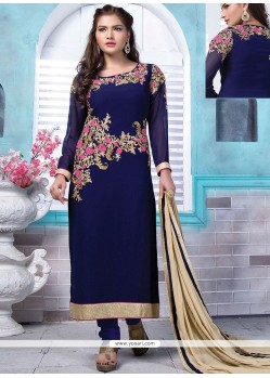 Magnetize Navy Blue Lace Work Designer Straight Suit