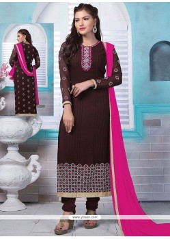 Enthralling Lace Work Brown Faux Georgette Designer Straight Suit