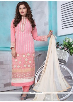 Absorbing Embroidered Work Faux Georgette Designer Straight Suit