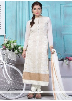 Conspicuous White Embroidered Work Designer Straight Suit