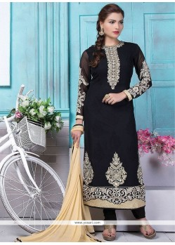 Specialised Black Embroidered Work Designer Straight Suit