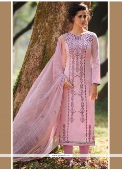 Sonorous Cotton Pink Embroidered Work Designer Straight Suit