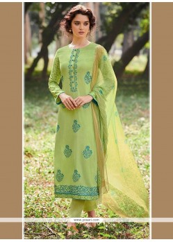 Honourable Cotton Green Embroidered Work Designer Straight Suit