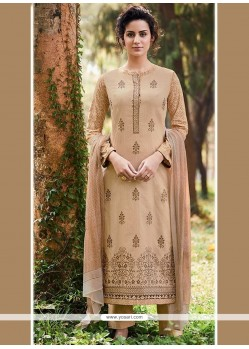 Fabulous Cotton Embroidered Work Designer Straight Suit
