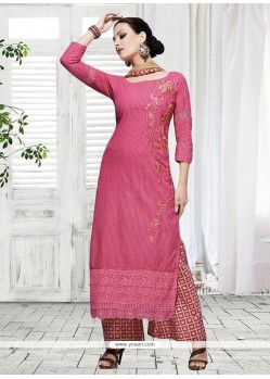 Pink Cotton Designer Palazzo Suit