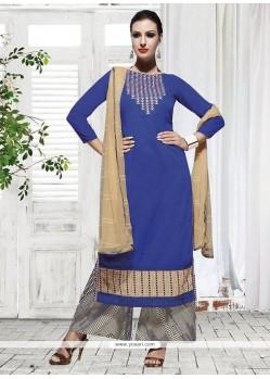 Especial Blue Cotton Palazzo Designer Suit