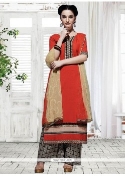 Beautiful Red Designer Palazzo Suit