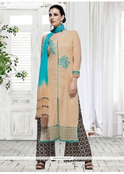 Embroidered Cotton Designer Palazzo Suit In Beige