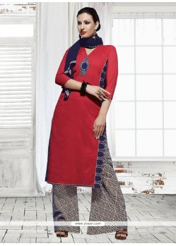 Pleasing Cotton Maroon Designer Palazzo Suit
